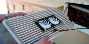 How do you install an RV refrigerator fan